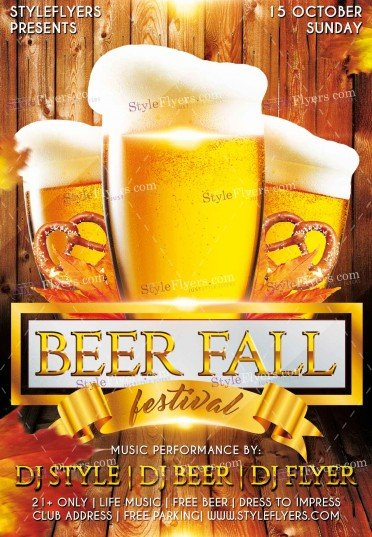 Beer Fall Fest PSD Flyer Template #11374 - Styleflyers