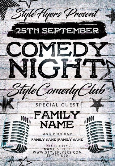 Comedy Night Psd Flyer Template #11727 - Styleflyers