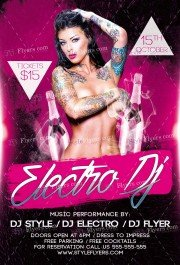Electro Dj guest PSD Flyer Template