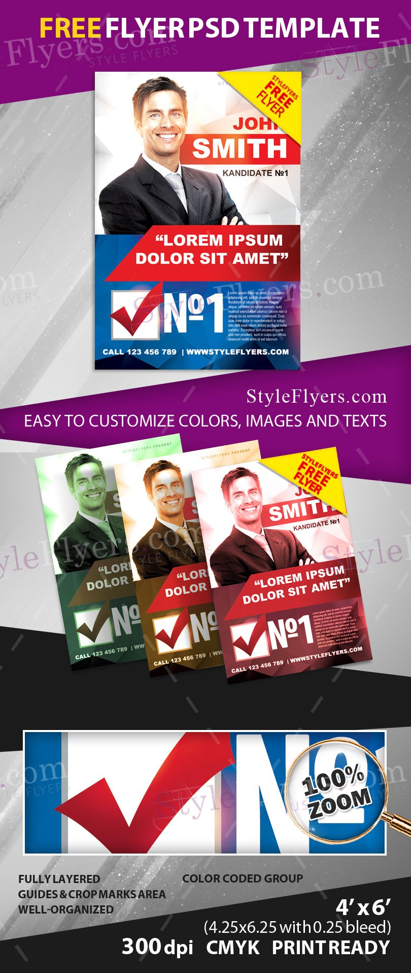 Political Campaign FREE PSD Flyer Template Free Download - Political campaign brochure template