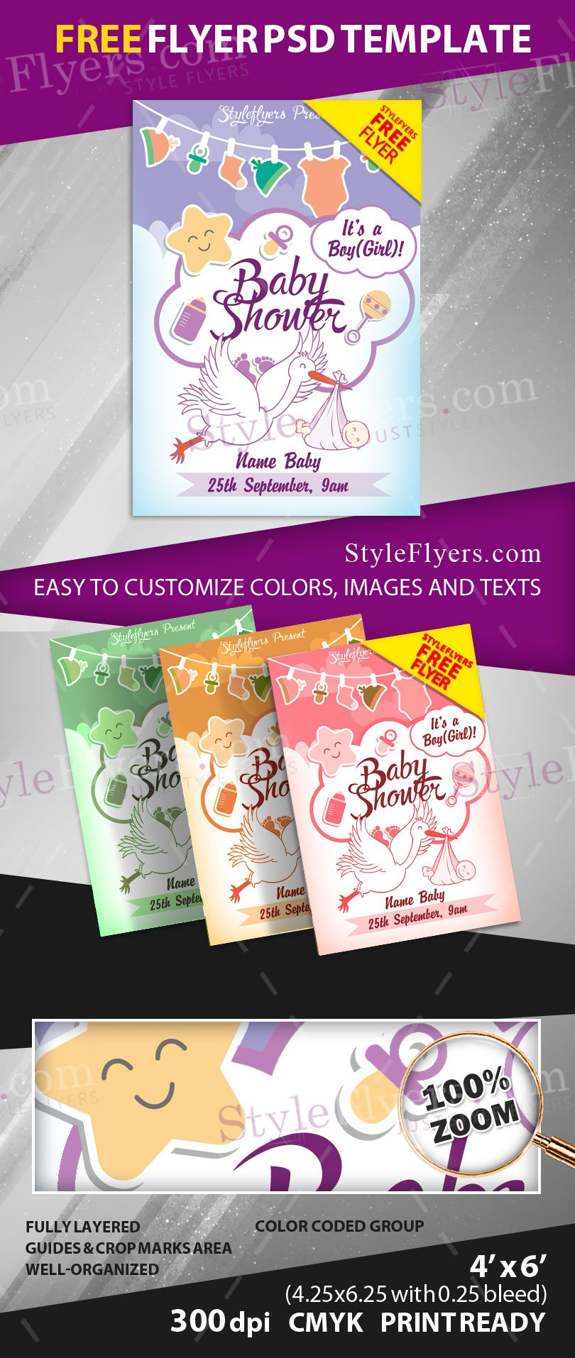 baby shower free psd flyer template free download 11790 styleflyers. Black Bedroom Furniture Sets. Home Design Ideas
