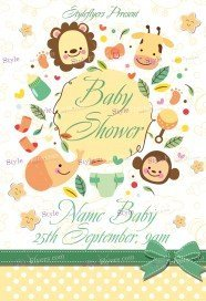 Baby Shower FREE PSD Flyer Template  Baby Shower Flyer Templates Free