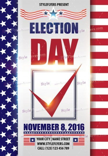 Election day psd flyer template 12556 styleflyers for Voting flyer templates free