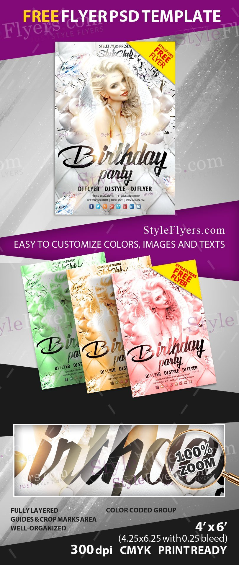 Birthday Party Free Psd Flyer Template Free Download 12579