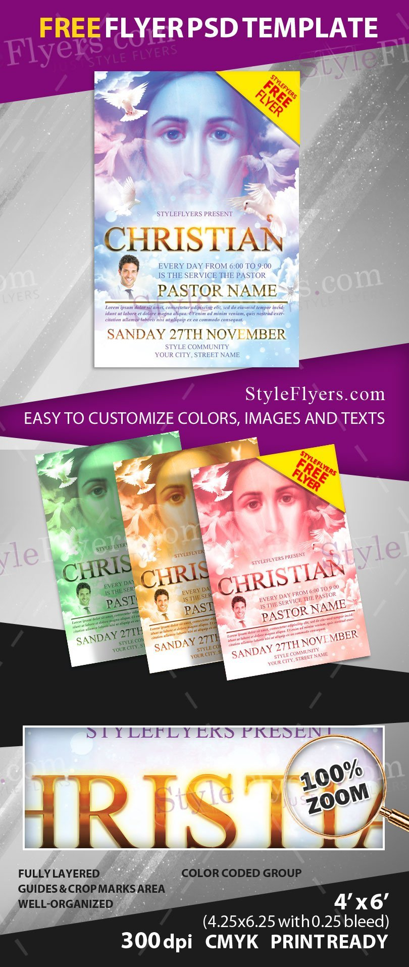 Christian free psd flyer template free download 12801 for Religious flyers template free