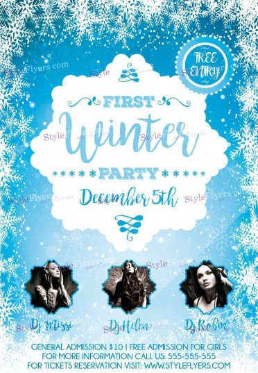 First Winter Party Psd Flyer Template #12957 - Styleflyers