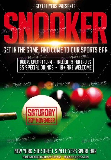 Snooker Psd Flyer Template   Styleflyers