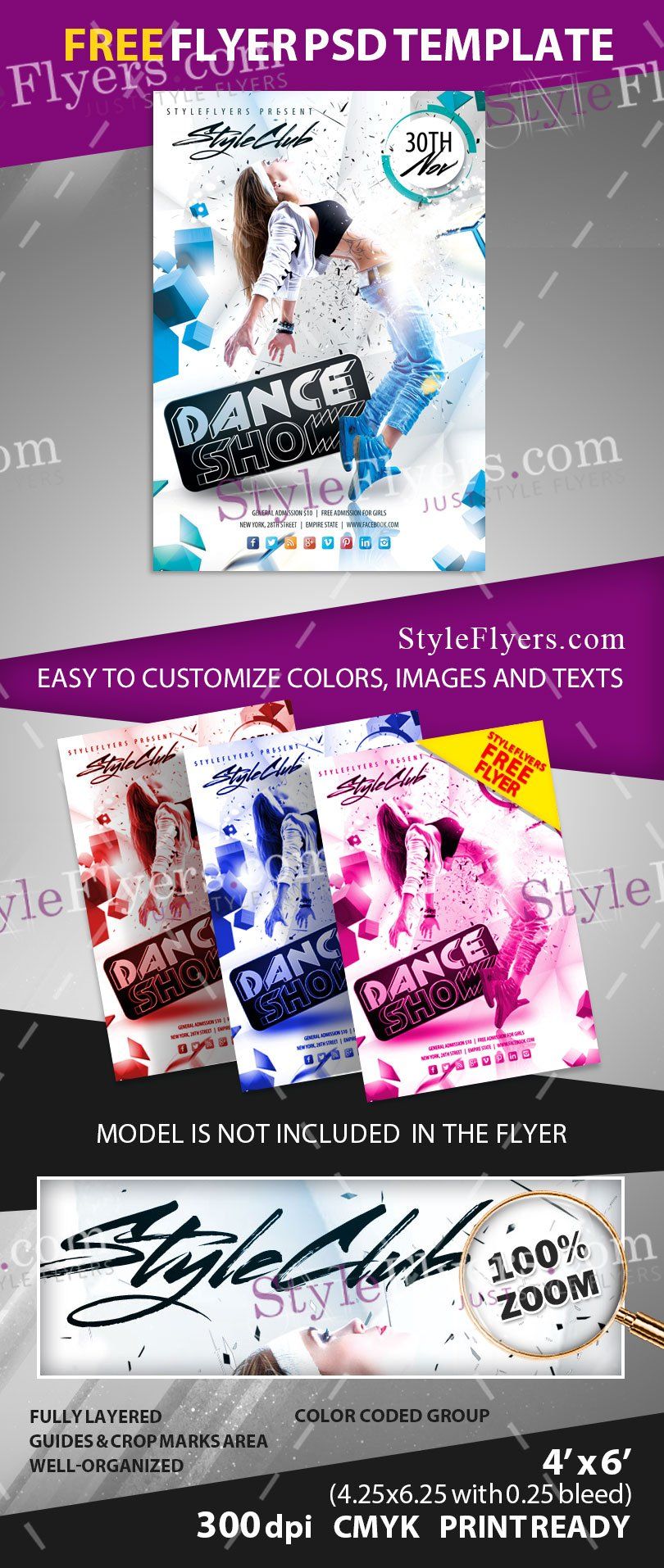 Dance Show FREE PSD Flyer Template Free Download #13024 - Styleflyers