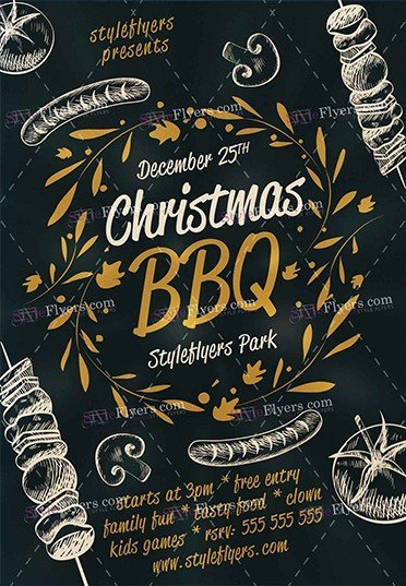 Christmas Bbq Psd Flyer Template   Styleflyers