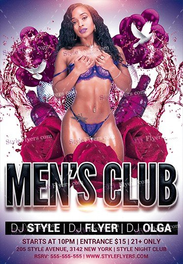 mens club psd flyer template