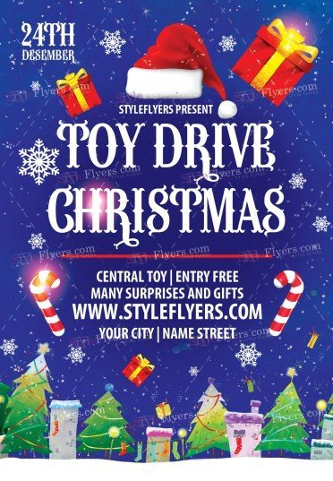 toy drive psd flyer template