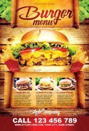 Burger Menu PSD Flyer Template