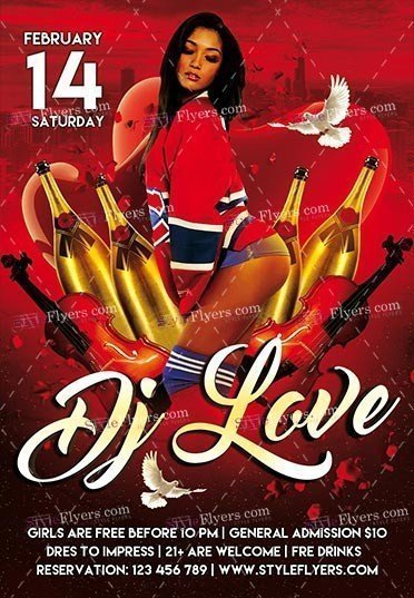 DJ Love PSD Flyer Template