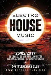 Electro House Music PSD Flyer Template
