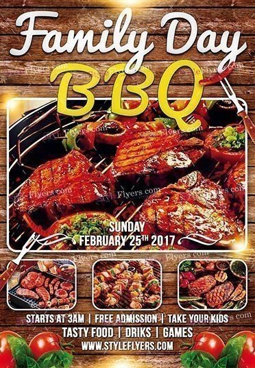Family Day Bbq Psd Flyer Template #16918 - Styleflyers