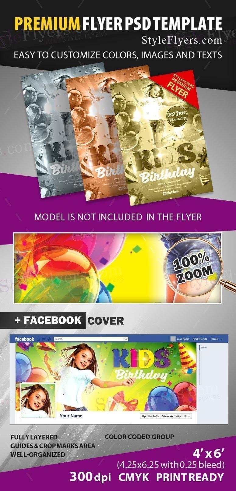 Kids Birthday Flyer preview_premium