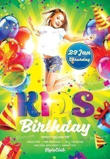 Kids Birthday PSD Flyer Template