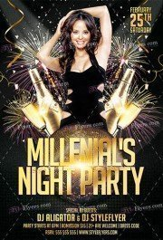 Millenials Night Party PSD Flyer Template
