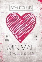 Minimal Love Party PSD Flyer Template