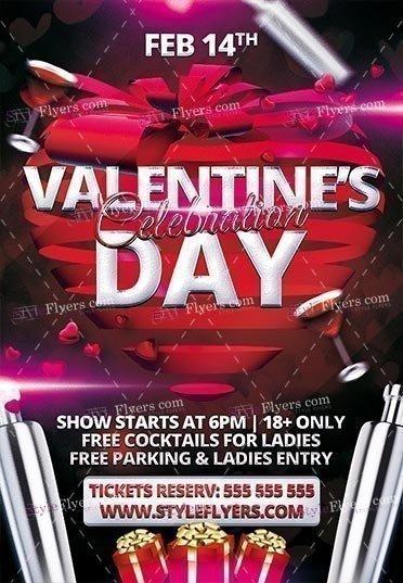 Valentine Day Celebration PSD Flyer Template