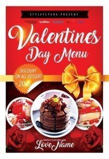Valentines Day Menu PSD Flyer Template