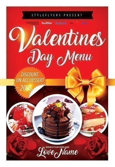 Valentines Day Menu PSD Flyer Template