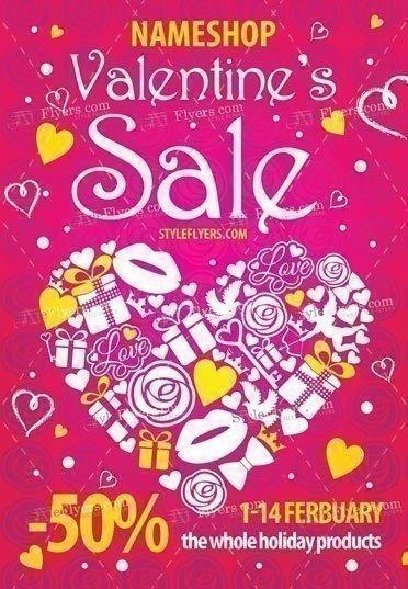 Valentine's Sale PSD Flyer Template