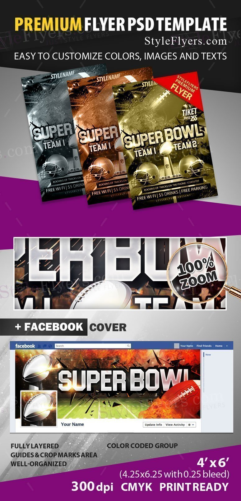 super bowl flyers templates