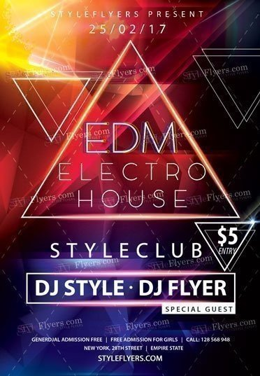 EDM Electro House PSD Flyer Template