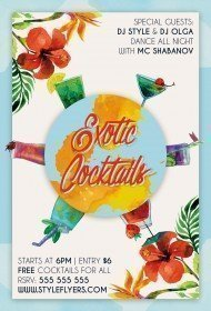 Exotic Cocktails PSD Flyer Template