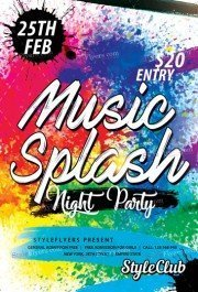 Music Splash Night Party PSD Flyer Template
