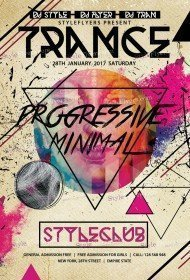 Trance Progressive Minimal PSD Flyer Template