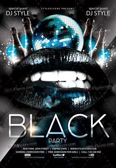 Black Party PSD Flyer Template