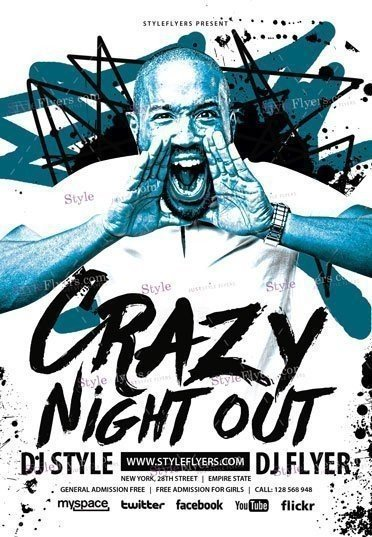 Crazy Night Out Psd Flyer Template   Styleflyers