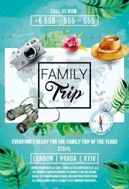 Family Trip PSD Flyer Template