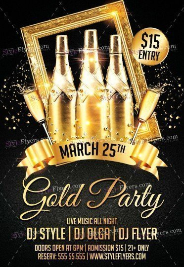 Gold Party PSD Flyer Template