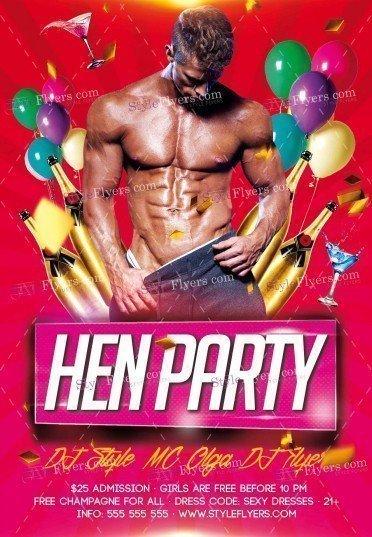 Hen Party PSD Flyer Template