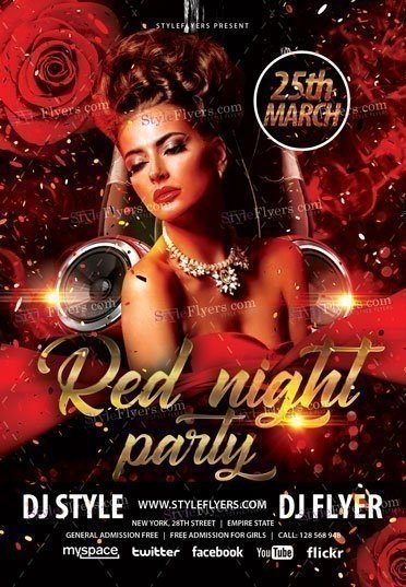 Red Night Party PSD Flyer Template