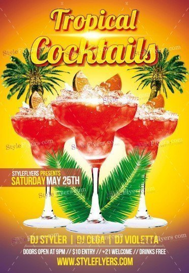 Tropical Cocktail PSD Flyer Template1