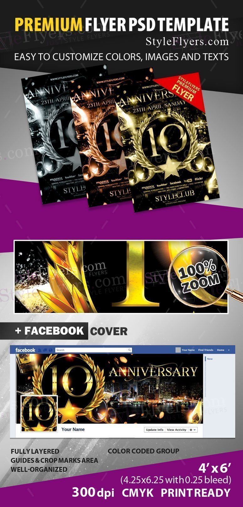 anniversary psd flyer template  18313