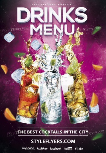 Drinks Menu PSD Flyer Template