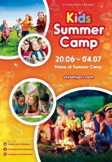 Kids Summer Camp Psd Flyer Template #18782 - Styleflyers
