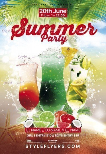 Summer Party Psd Flyer Template #18592 - Styleflyers
