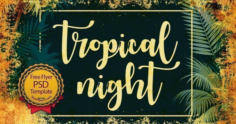 tropical night free flyer psd template free download 18950