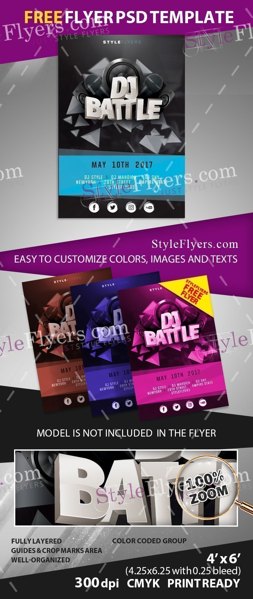 Dj Battle Free Flyer Psd Template Free Download 18736 Styleflyers
