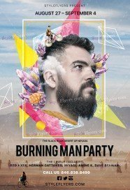 Burning Man Party PSD Flyer Template