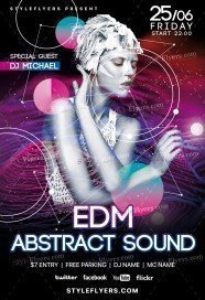EDM Abstract Sound PSD Flyer Template