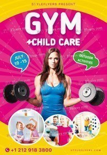 Gym+Child Care PSD Flyer Template