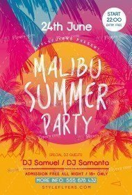 Malibu Summer Party PSD Flyer Template