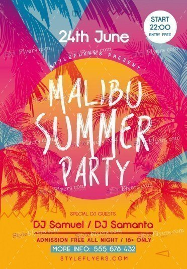 Malibu Summer Party Psd Flyer Template   Styleflyers